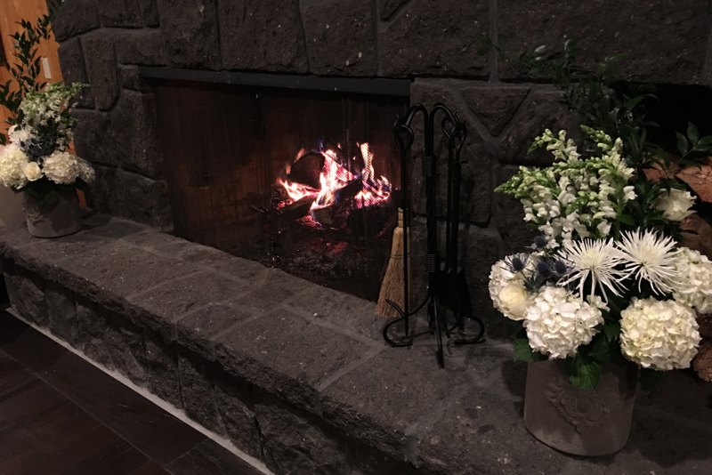 Fireplace with White Boquets